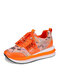 Plus Size Casual Running Letter Pattern Neon Yellow Sneakers Womens - Orange
