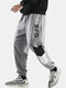 Mens Letter Print Stitching Cotton Drawstring Cuffed Jogger Pants With Pocket - Gray