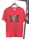Women Easter Cartoon Bunny Letters Print Short Sleeve O-neck T-Shirt - Red