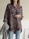Leopard Printed Long Sleeve Stand Collar Asymmetrical Blouse For Women - Coffee