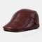Collrown Men Genuine Leather Retro Casual Solid Keep Warm Winter Forward Hat Beret Hat - Wine Red