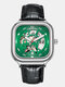 8 Colors Square Men Business Watch Waterproof Automatic Hollow Mechanical Watch - Silver Case Green Dial Leather B