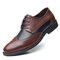 Men Stylish Brogue Color Blocking Lace Up Business Formal Dress Shoes - Brown
