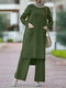 Solid Color O-neck Long Sleeve Plus Size Button Blouse Suit for Women - Green