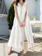 Folds Knotted Patchwork Sleeveless Solid Color Casual Dress For Women - White
