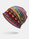Women Dual-Use Cotton Color-Block Ethnic Print Beanie Hat Scarf - Yellow Green