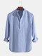 Mens Cotton Stand Collar Long Sleeve Henley Shirt - Blue