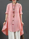 Solid Color Frog Button Long Sleeve High-low Hem Stand Collar Blouse - Pink