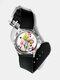 Casual Watercolor Women Wrist Watch PVC Band Leaf Bird Fruit Pattern Men Quartz Watch - #04