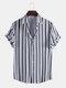 Mens Black Stripe Print Button Up Short Sleeve Lapel Casual Shirt - Navy