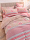 4Pcs Floral Overlay Print Three-dimensional 6D Carved Velvet Comfy Bedding Thickened Winter Warmth Double Milk Velvet Quilt Cover - #18