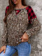 Leopard Check Stitch O-neck Long Sleeve T-shirt for Women - Red