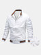 Mens Zip Up Thick Plush Lined Casual Jackets With Contrast Ribbed Trim - White