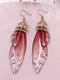 Vintage S925 Sterling Silver Butterfly Long Cicada Wings Gradient Earrings - 30