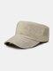 Men Linen Solid Color Casual Outdoor Sunshade Military Hat Flat Hat Peaked Cap - Beige