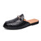 Men Casual Snake Veins Round Toe Light Weight Backless Loafers - Black