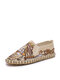 Men Linen Embroidery Pattern Hand Made Slip On Casual Shoes - Beige