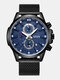 Small Three Pointer Men Business Watch Chronograph Calendar Waterproof Quartz Watch - Black Case Blue Dial