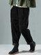 Solid Color Side Pockets Elastic Waist Corduroy Pants - Black
