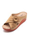 Women Stitching Wedges With Flowers And Leaves Peep Toe Slippers - Brown