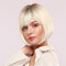 11 Inch White Gold Bangs Synthetic Wig Thin-Light Breathable Short Straight Hair Wig - 11inch