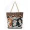 Canvas Cute Katze Pattern Tote Handtasche Schultertasche für Damen