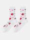 جوارب حريرية حريرية أنيقة بنمط رسوم متحركة فواكه للسيدات - فراولة بيضاء
