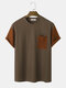 Mens Contrast Patchwork Knitted Short Sleeve Street T-Shirt With Pocket - Coffee