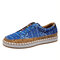 Women Folkways Printing Comfy Slip On Casual Flat Shoes - Blue