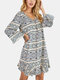 Women Plus Size Ethnic Pattern Print V-Neck Loose Casual Home Sleepwear Nightgown - Apricot