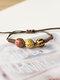 Vintage Ethnic Geometric-shape Beaded Braided Ceramics Wax Rope Bracelets - #06