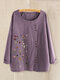 Floral Printed O-Neck Button Long Sleeve Blouse For Women - Purple