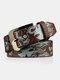 Men PU 110CM Skull Pattern Fashion Cool Pin Buckle Pants Belt - Coffee