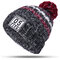 Women Winter Hat Scarves Gloves Set Cotton Kintted Pompom Hats Stripe Thick Beanie Collar Gloves - Gray