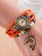 Multilayer Vintage Women Wrist Watch Dolphin Pendant Leather Quartz Watch - Orange