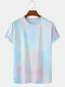 Mens Tie Dye Print Casual Breathable & Thin O-Neck T-Shirts - Light Blue