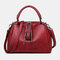 Women Casual Solid Crossbody Bag - Red
