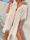 Women Solid Color Thin Tassel Trim Sun Protection Cover Up - White