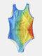 Plus Size Women Rainbow Print High Neck One Piece Beach Swimwear - Blue