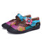 SOCOFY Bohemian Leather Splicing Floral Hook Loop Strap Toe Cap Flat Shoes - Colorful