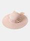 Women Wide Brim Summer Beach Holiday Bowknot Sunshade Straw Hat Bucket Hat - Pink