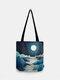 Women Moon Glow Mountain Treetop Print Bag Shoulder Bag Tote - 05