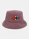 Women & Men Woolen Embroidery Fish Bone Cute Casual Bucket Hat - Purple