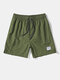 Mens Solid Color Applique Side Split Casual Drawstring Board Shorts - Army Green