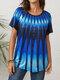 Inkjet Ethnic Gradient Print Button Front Plus Size T-shirt - Blue