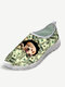 Plus Size Women Casual Mesh Cat Printing Breathable Slip On Walking Shoes - Money Dog