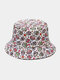 Unisex Cotton Overlay Cartoon Skull Flower Print Double-sided Wearable Fashion Sunscreen Bucket Hat - #02