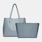Women 2 PCS Large Capacity Multi-pocket Removable Key Multifunctional Handbag Tote - Blue