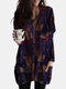 Vintage Printed Long Sleeve V-neck Casual Blouse For Women - Purple