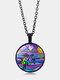 Vintage Alloy Glass Printing Women Necklace Colored Turtle Pendant Necklace - Black